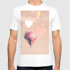 Hot air balloon nursery and heart bokeh on pale pink MEDIUM White Mens Fitted Tee