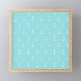 Maritime Teal and White Anchor Pattern Framed Mini Art Print