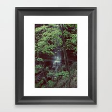 Waterfall Green Trees Color Photography Framed Art Print