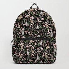Cute rabbits. Black pattern Backpack