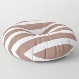 Brown Cacao Stripes and White Floor Pillow