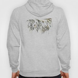 Fish Zebra Design, Angelfish aquarium design, underwater scene, black and white Hoody