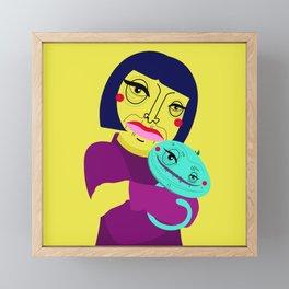 Little girl and Felix Framed Mini Art Print