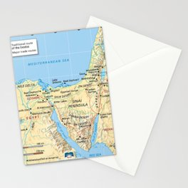 Map of Moses Exodus Egypt and Sinai 1400 to 1200 B.C. Stationery Cards