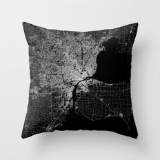 Detroit map  Throw Pillow