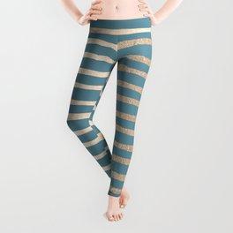 Abstract Stripes Gold Tropical Ocean Blue Leggings