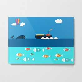 Meeting with whale Metal Print