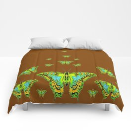 GREEN-YELLOW MOTHS ON COFFEE BROWN Comforters