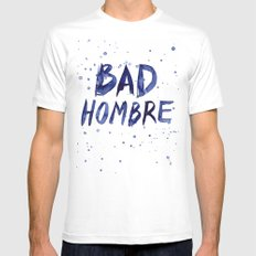 Bad Hombre Typography Watercolor Text Art White MEDIUM Mens Fitted Tee