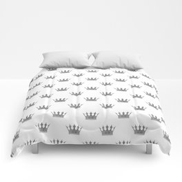 Wedding White Silver Crowns Comforters