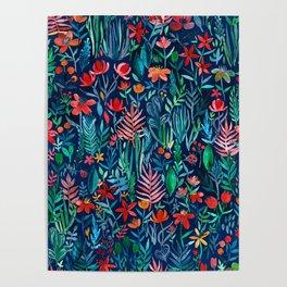 Tropical Ink - a watercolor garden Poster