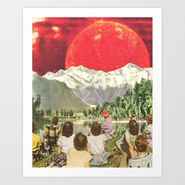 Red sun sails in the sunset Art Print