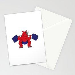 No Pain No Gain Rhino Powerlifting Bodybuilding  Stationery Cards
