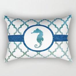 Seahorse: Tropical Water Moroccan Pattern Rectangular Pillow
