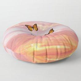 Butterfly Sunset Aesthetic Floor Pillow