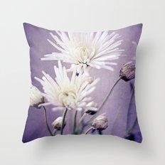 White on Purple Throw Pillow