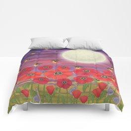 purple sky, fireflies, snails, and poppies Comforters