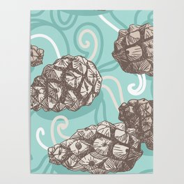 seamless pattern with Pine cones and frosty patterns. Brown and blue. Sketch. vector Poster