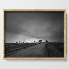 Down the Road - Colorful Rainbow Under Storm Clouds Down Dirt Road in Kansas Serving Tray