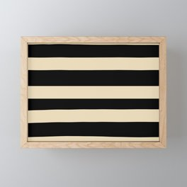 Valspar America Wood Yellow - Homey Cream - Glow Home Hand Drawn Fat Horizontal Stripes on Black Framed Mini Art Print