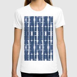 Shibori Stripes 3 Indigo Blue T-shirt