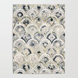 Monochrome Art Deco Marble Tiles Poster