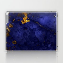 Gold Blue Indigo Malachite Marble Laptop & iPad Skin