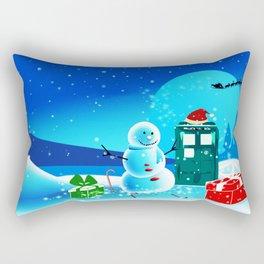 Tardis With Snow Ball Gift Christmas Rectangular Pillow
