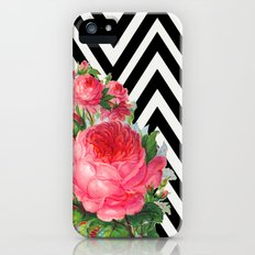 FLORAL BLACK AND WHITE CHEVRON iPhone (5, 5s) Slim Case