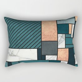 Random Pattern - Copper, Marble, and Blue Concrete Rectangular Pillow