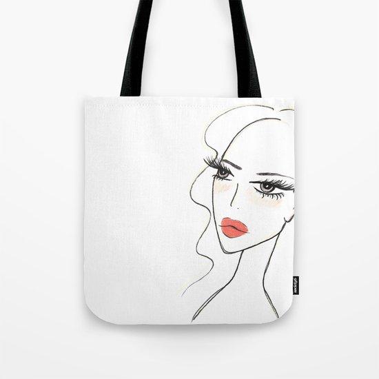 Red lips girl Tote Bag