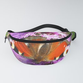 Peacock Butterfly Pink Flower Green Background Fanny Pack