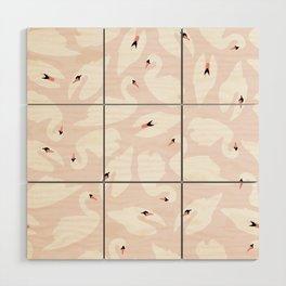 Swan Pattern on Pink 030 Wood Wall Art