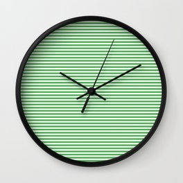 Even Horizontal Stripes, Green and White, XS Wall Clock