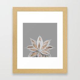 Gray Agave with Gold Glitter #1 #shiny #tropical #decor #art #society6 Framed Art Print