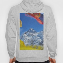 Summit of mount Everest or Chomolungma - highest mountain in the world, view from Kala Patthar,Nepal Hoody