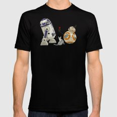 LOVE DROID & THE CAT Mens Fitted Tee Black LARGE