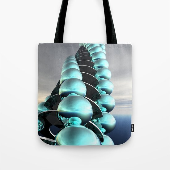 Column of Cyan Spheres Tote Bag