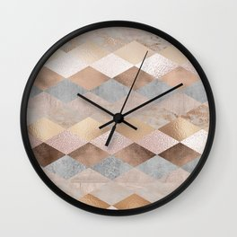 Copper and Blush Rose Gold Marble Argyle Wall Clock