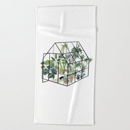 greenhouse with plants Beach Towel