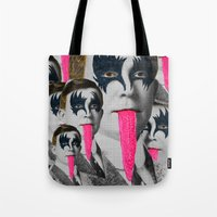 kiss Tote Bags featuring kiss by DIVIDUS