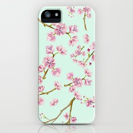Spring Flowers - Mint and Pink Cherry Blossom Pattern iPhone Case