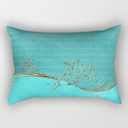 Gold and Turquoise Pattern Rectangular Pillow