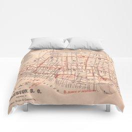 Vintage Map of Charleston South Carolina (1890) Comforters