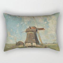 A mill on a polder canal, known as 'In the month of July' - Paul Joseph Constantin Gabriël (1889) Rectangular Pillow