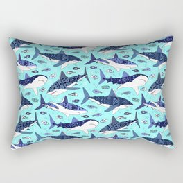 Sharks On Aqua Rectangular Pillow