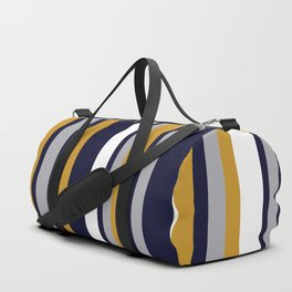 Modern Stripes in Mustard Yellow, Navy Blue, Gray, and White. Minimalist Color Block Duffle Bag