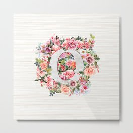 Initial Letter O Watercolor Flower Metal Print