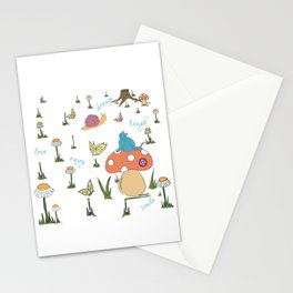 Joyful Mushroom - Love, dream, laugh, smile Stationery Cards