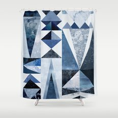 Blue Shapes Shower Curtain